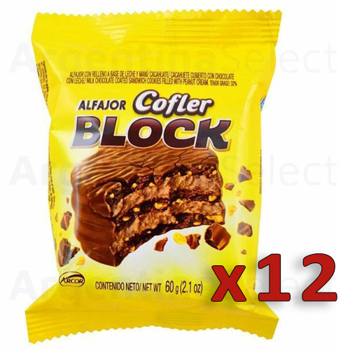 Cofler Block Alfajor Triple with Peanut Butter and Milk Chocolate, 60 g / 2.1 oz (pack of 12). Argentina Select.