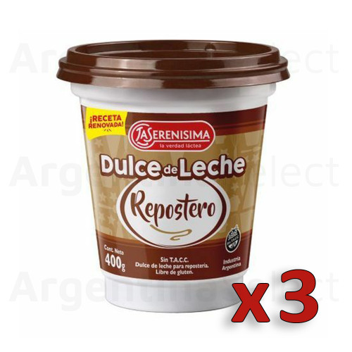 La Serenísima Dulce de Leche Repostero Thicker Perfect for Cakes, Bites, Biscuits & Baking at Home (400 g / 14.1 oz). Argentina Select. Pack x 3. Only $6.66 each!