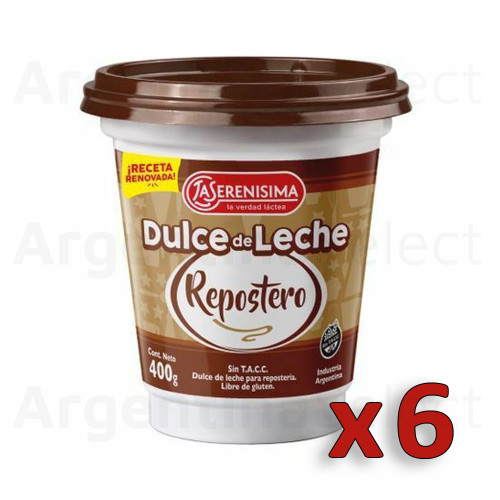 La Serenísima Dulce de Leche Repostero Thicker Perfect for Cakes, Bites, Biscuits & Baking at Home (400 g / 14.1 oz). Argentina Select. Pack x 6. Only $6.66 each!