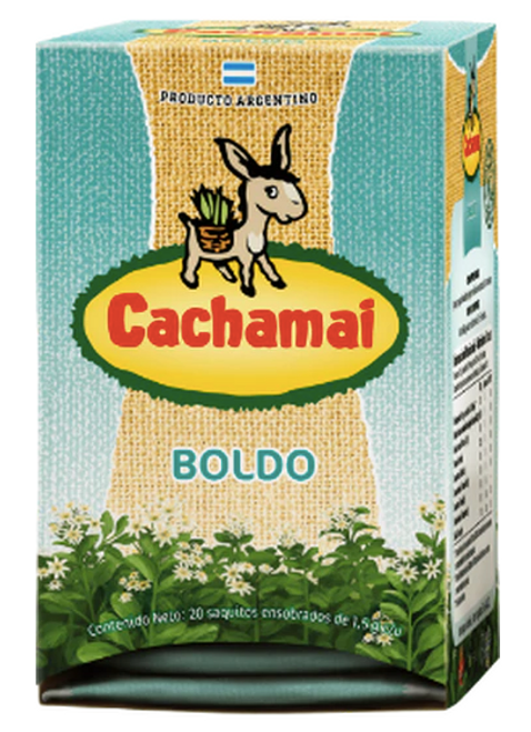Cachamai Boldo Tea Bags Natural Digestive Herbs Ideal for After Meals, 20 tea bags. Digestivo. Argentina Select.