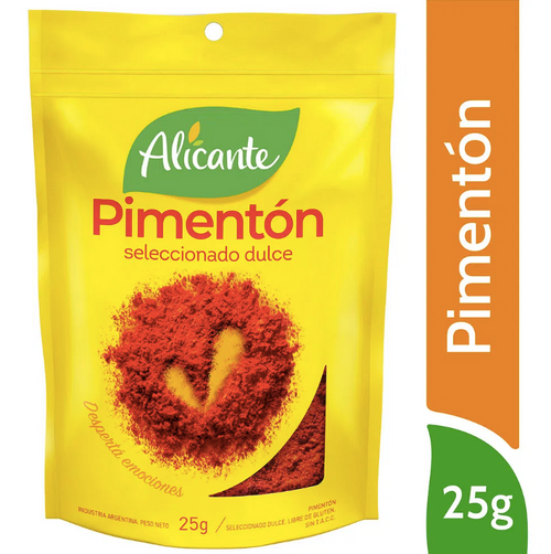 Alicante Condimento Pimentón Dulce Seleccionado (25 gr). Sweet Paprika. Pack x 3. Aromas y sabores para dar vida a tus comidas. Argentina Select.