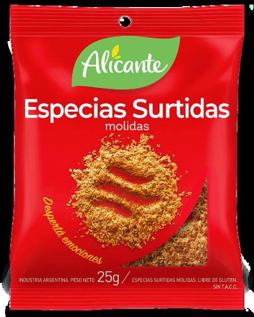Alicante Condimento Especias Surtidas (25 gr). Assorted Spices. Pack x 3. Aromas y sabores para dar vida a tus comidas. Para empanadas, estofados, guisos, sopas, salsas varias. Para agregar al rebosado de milanesas y carnes.