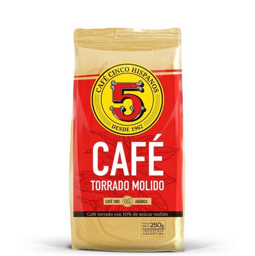 Café 5 Hispanos Torrado Molido 250 gr. 100% Arabica - Roasted Ground Coffee. Argentina Select.