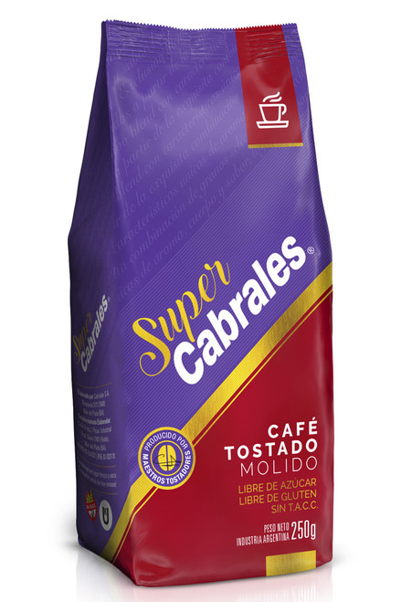 Café Molido Tostado Super Cabrales x 250g. Kosher Roasted Ground Coffee. Argentina Select.