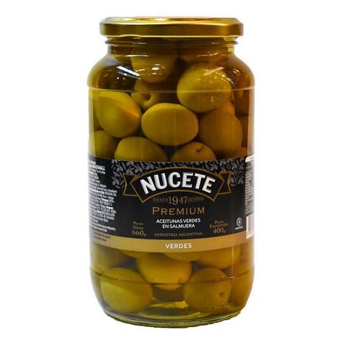 Nucete Aceitunas Verdes Premium 660 gr. Green Olives. Argentina Select.