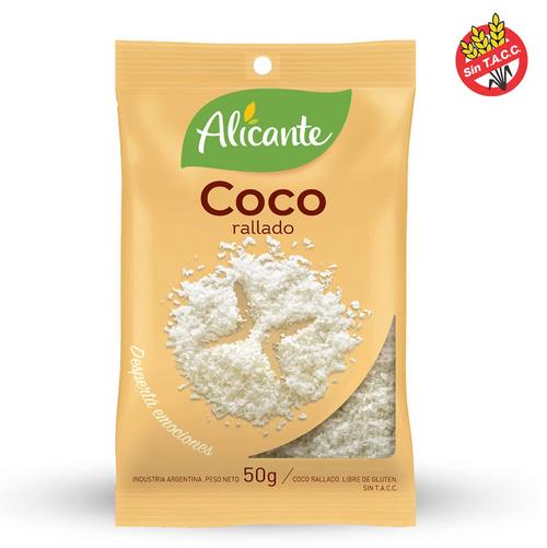 Alicante Condimento Coco Rallado 50 gr. Grated Coconut. Argentina Select.