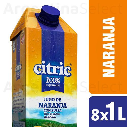 Citric Jugo Natural Naranja - Natural Orange Juice 8 Packs x 1 L. Only in Argentina Select.