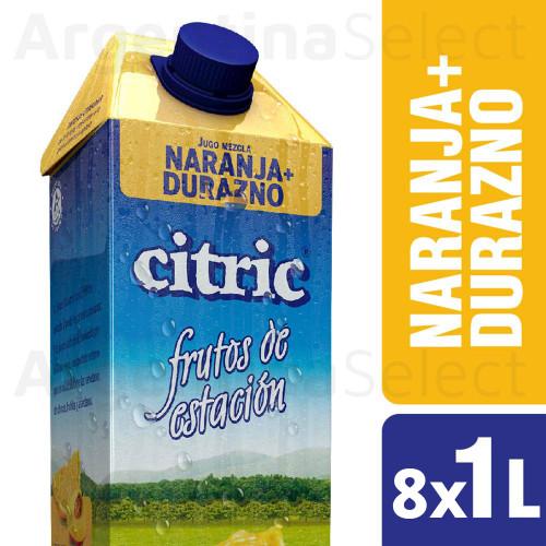 Citric Jugo Natural Naranja Durazno - Natural Orange & Peach Juice, 8 Packs x 1 L. Only in Argentina Select.