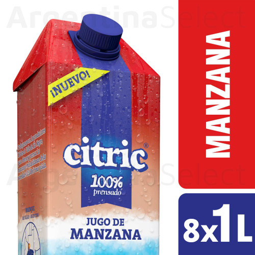 Citric Jugo Natural Manzana - Natural Apple Juice, 8 Packs x 1 L. Only in Argentina Select.