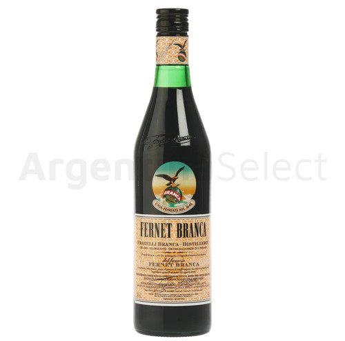 Fernet Branca Bitter Amaro Herbal Infusion Liqueur Genuine Argentina Flavor Recipe - ABV 39% (750 ml / 25.4 oz). Argentina Select.