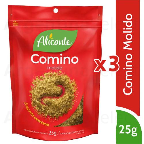 Alicante Condimento Comino - Cumin 25 gr. Pack x 3. Argentina Select.