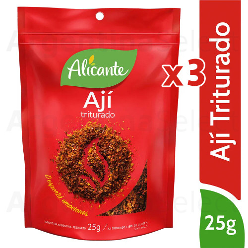 Alicante Condimento Ají Triturado - Crushed Chili 25 gr. Pack x 3. Argentina Select.