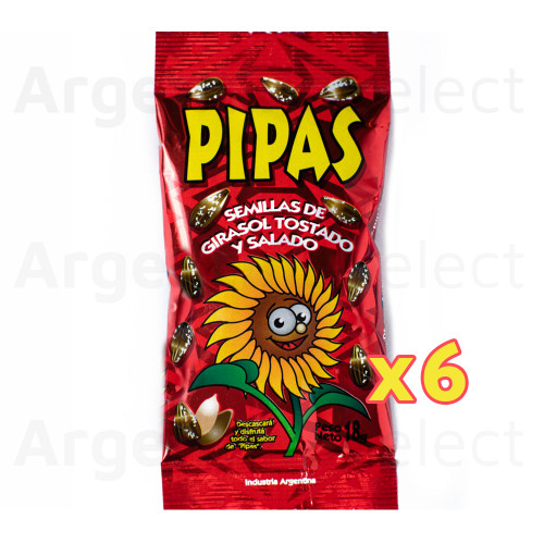 Pipas Semillas Girasol Tostadas Saladas Salted Roasted Sunflower Seeds 18 gr. Pack x 6. Argentina Select.