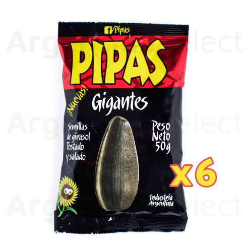 Pipas Gigantes Semillas Girasol Tostadas Saladas Salted Roasted Sunflower Seeds 50 gr. Pack x 6. Argentina Select.