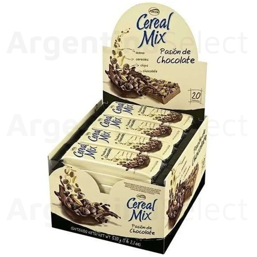 Arcor Cereal Mix Barrita Chocolate Pasión. Caja x 20.