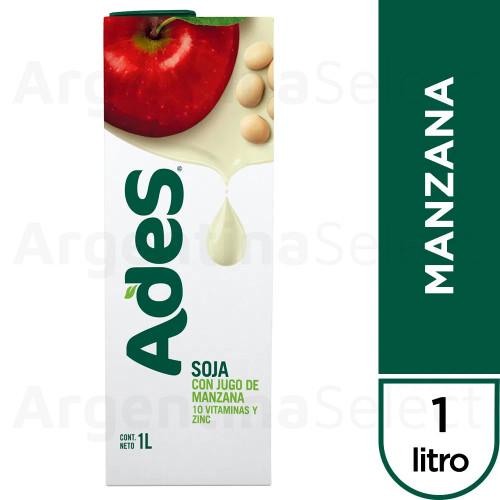 Ades con Jugo de Manzana Soja Soy Juice Apple Flavor Tetra Pak, 1 l / 33.8 fl oz (pack x16). Only $5.93 each!