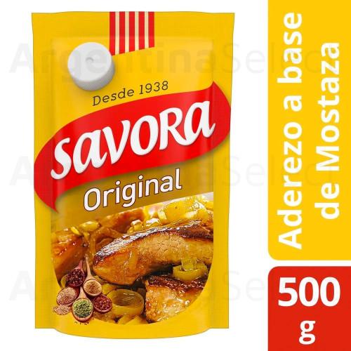 Mostaza Savora con Tapa (500 gr). Yellow Mustard. Argentina Select.