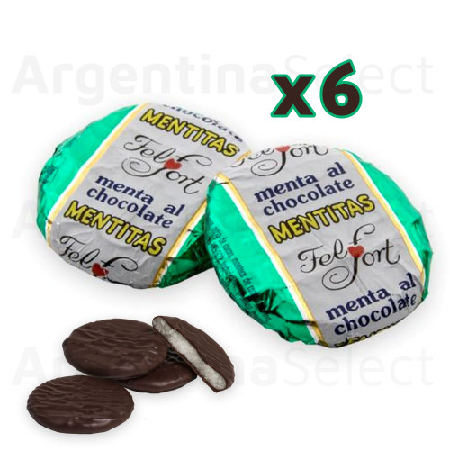 Mentitas con Chocolate FelFort (96 gr). Pack x 6. Chocolate Mints. Argentina Select.