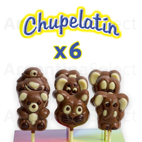 Chupelatin Bombon Chocolate (90 gr). Pack x 6. Chocolate Lollipop. Argentina Select.