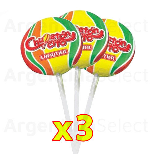 Lheritier Chupetin Chupetoncito (105 gr). Pack x 3. Lollipop. Argentina Select.