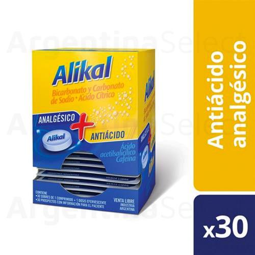 Alikal Clásico X 30 Sobres.Sterling.AcetilsalicílicoÁc. + Cafeína. Argentina Select.
