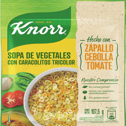 Knorr Sopa Familiar de Vegetales con Caracolitos Tricolor (sobre 107,5 gr). Vegetables Soup. Argentina Select.