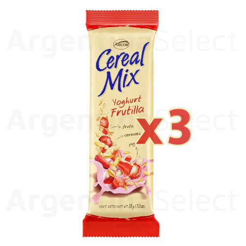 Cereal Mix Barra Frutilla (26 gr). Pack x 3. Argentina Select.