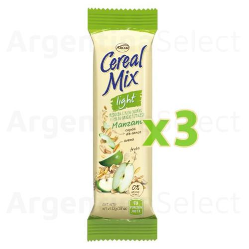 Cereal Mix Barra Manzana Light (26 gr). Pack x 3. Argentina Select.