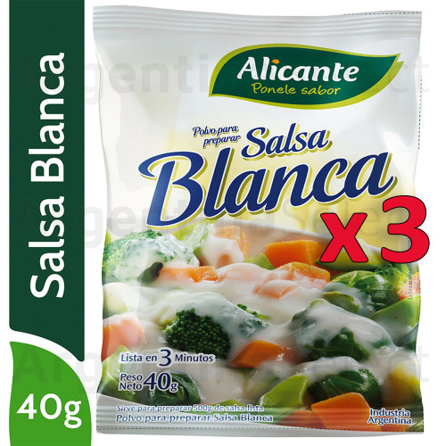 Alicante Salsa Blanca (40 gr). Pack x 3. Argentina Select.