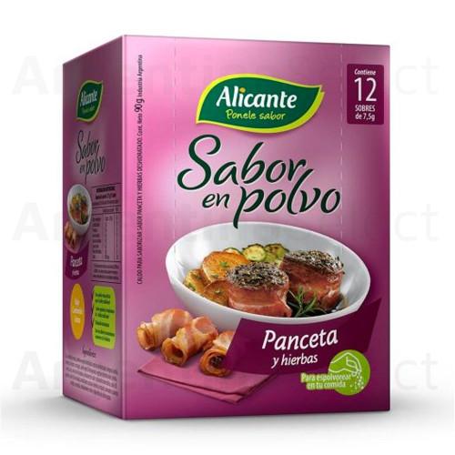 Alicante Sabor en Polvo - Panceta Hierbas (7.5 gr). Sazonador. Bacon & Herbs Seasoning. Caja x 12. Argentina Select.