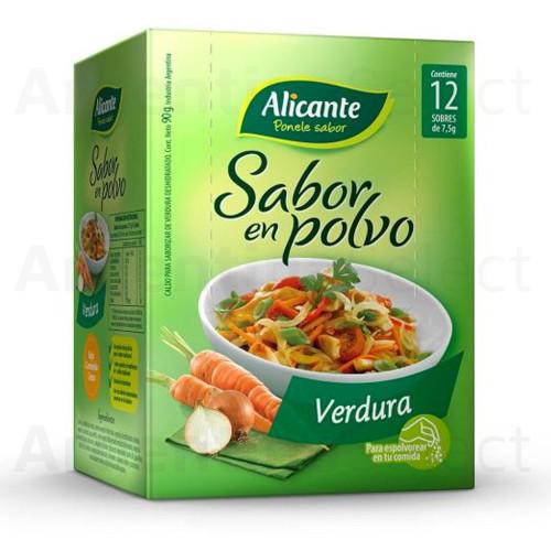 Alicante Sabor en Polvo - Verdura (7,5 gr). Sazonador Caja x 12. Argentina Select.