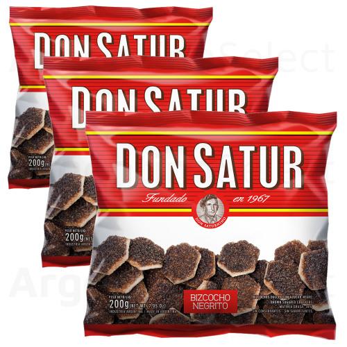 Don Satur Bizcochos Negrito (200 gr). Pack x 3. Argentina Select.