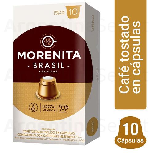 La Morenita Cafe Capsulas Brasil Nespresso (80 gr). Caja x 10. Argentina Select.