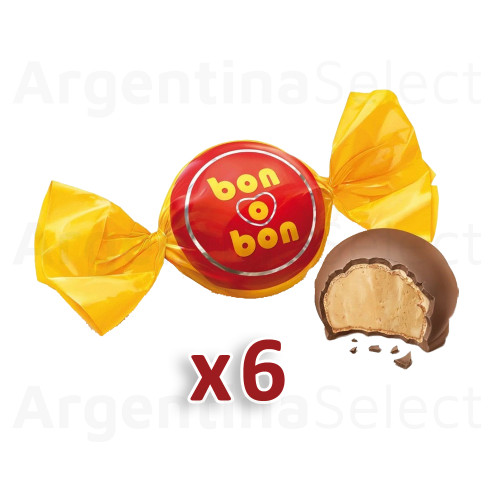 Bon o Bon Traditional Milk Chocolate Bite Filled With Peanut Butter - Pack of 6. Argentina Select.