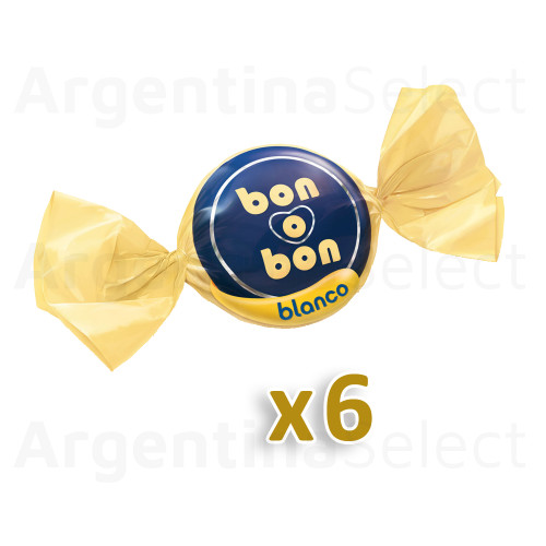 Bon o Bon Traditional White Chocolate Bite Filled With Peanut Butter - Pack of 6. Argentina Select.