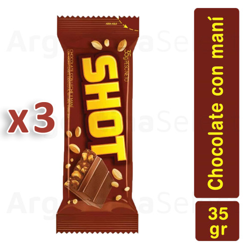 Shot Milk Chocolate Bar with Peanuts 35 g bar (Pack of 3). Argentina Select.