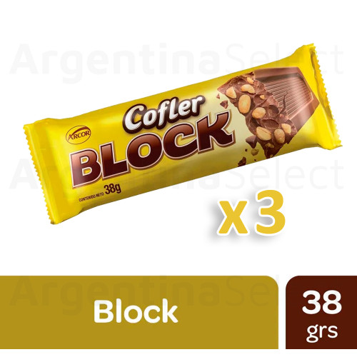 Cofler Block Milk Chocolate with Peanuts, 38 g (Pack of 3). Argentina Select.