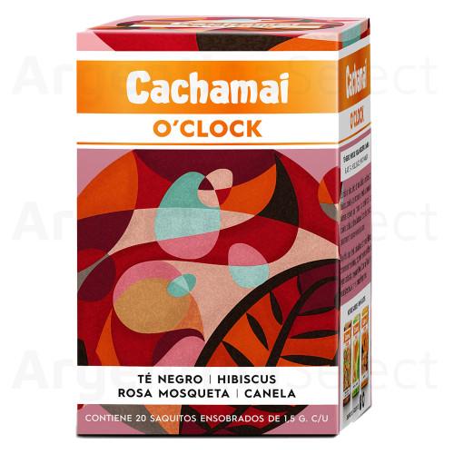Te Cachamai O´Clock Premium - Negro/Hisbiscus/Rosa Mosqueta/Canela (30 gr). Pack x 20. Herbal Tea. Argentina Select.