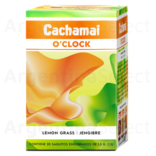 Te Cachamai O´Clock Premium - Lemon Grass / Jengibre (30 gr). Pack x 20. Herbal Tea. Argentina Select.