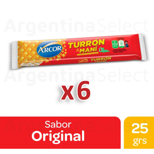 Turrón & Maní Arcor Bar with Hard Peanut Cream and Biscuit, 25 g / 0.9 oz (pack of 6). Argentina Select.