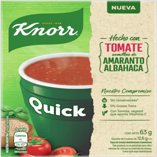 Knorr Quick Ready to Make Soup Tomato & Basil, 5 pouches, 63 g / 2,22 oz. Argentina Select.