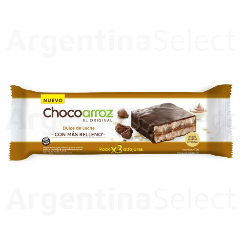 Chocoarroz Wholegrain Rice Alfajor with Dulce de Leche Gluten Free - Very Low Calories, 75g / 2.6 oz (TriPack). Argentina Select.