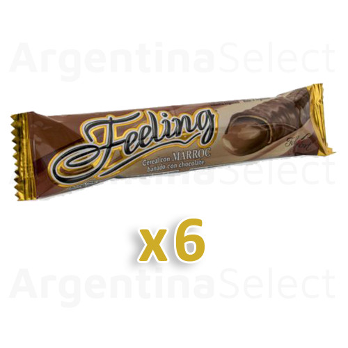 Feeling Felfort Barra de Chocolate Milk Chocolate Cereal Bar Filled with Marroc, 20 g / 0.7 oz (Pack x 6). Argentina Select.