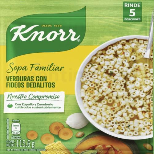 Knorr Sopa Familiar de Verduras con Dedalitos (Sobre 115,6 gr). Vegetables Soup. Argentina Select.