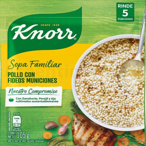 Knorr Sopa Familiar de Pollo con Municiones (Sobre 105 gr). Chicken Soup. Argentina Select.