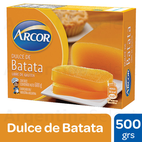 Arcor Dulce de Batata Sweet Potato Jelly with Subtle Vanilla, 500 g / 1.1 lb sealed bar. Argentina Select.