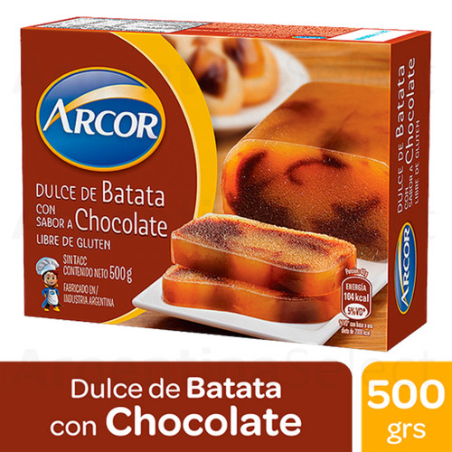 Arcor Dulce de Batata Sweet Potato Jelly with Vanilla and Chocolate, 500 g / 1.1 lb sealed bar. Argentina Select.