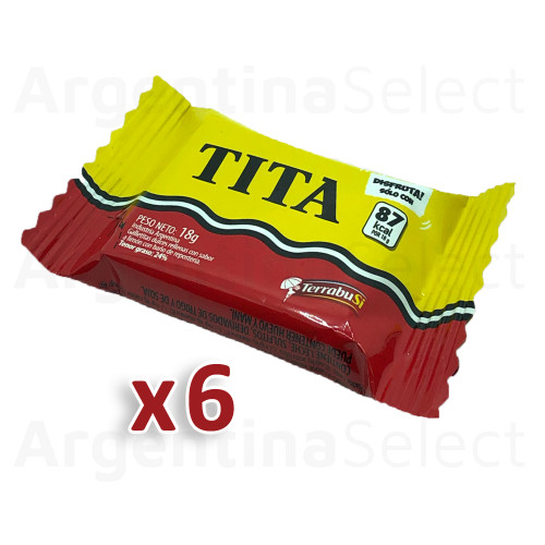 Tita Chocolate Coated Cookie With Lemon Cream Filling, 18 g / 0.63 oz - Pack of 6. Argentina Select.