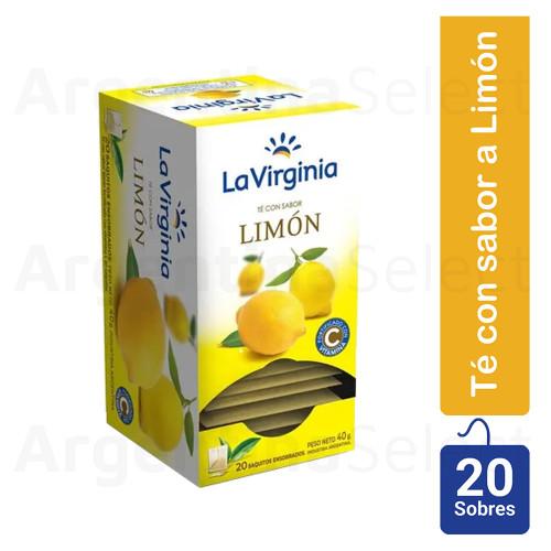 La Virginia Té con Sabor Limón, (40gr). Pack x 20. Lemon Tea. Argentina Select.