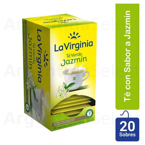 La Virginia Té Verde c/Jazmín, (40gr). Pack x 20. Green Tea. Argentina Select.
